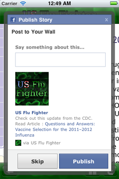 Let your Facebook and Twitter contacts know the latest about flu.